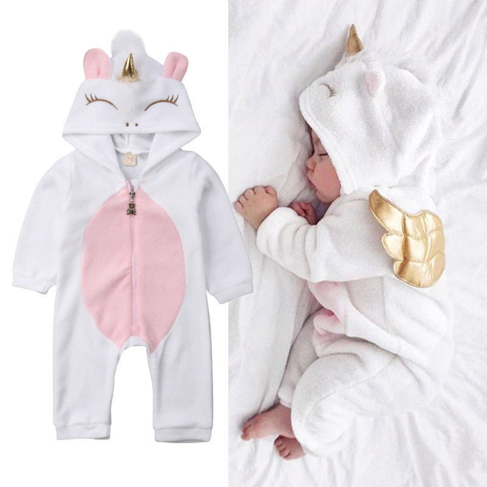 Newborn Baby Girls 3D Unicorn Angel Wings Hooded Zipper Romper Jumpsuit Outfits Clothes Autumn Winter Clothing