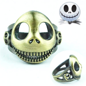 The Nightmare Before Christmas Ring Jack Skellington Vintage Bronze Meatl Hollow Costume Accessory Cosplay Collection Men Rings