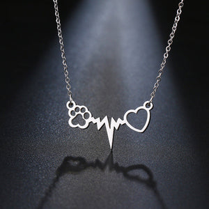 Stainless Steel Necklace For Women Lover's Gold And Silver Color Cats Paws Love Heart Pendant Necklace Engagement Jewelry