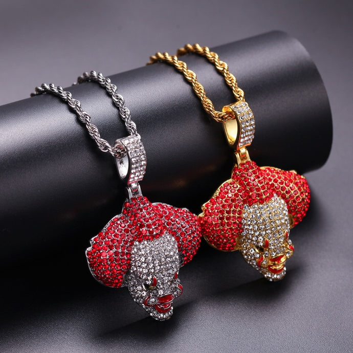 Men Hip Hop Ice Out Bling Clown Pendants Necklaces Fashion popular pendant necklace Hiphop Rapper Jewelry Gifts