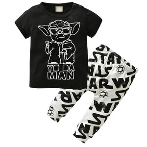 Newborn Baby Boys Clothing Set Short-sleeved Black Baby Boy Clothes Children Printed T-shirt+Pants Kids 2pcs Set