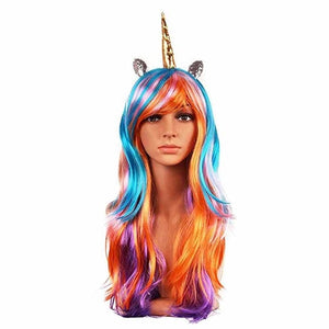 Cosplay Wig Headband Halloween Costumes kid adult Unicorn theme birthday New Year Masquerade dress up Christmas Decoration gift