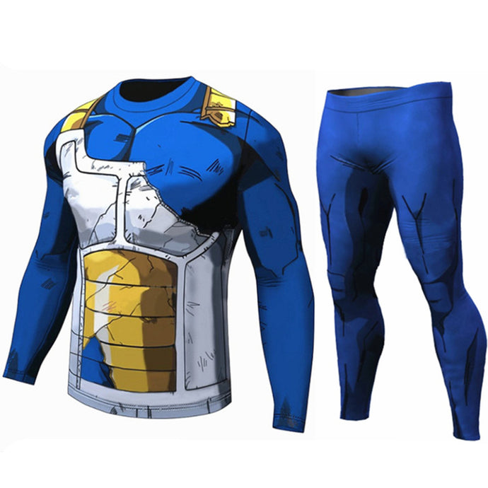 Anime Long Sleeve Compression Shirt and Legging for Men
