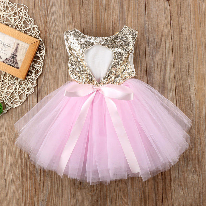 Princess Kids Baby Dress For Girls Fancy Wedding Dress Sleeveless Sequins Party Birthday Baptism Dress For Girl Summer Dresses