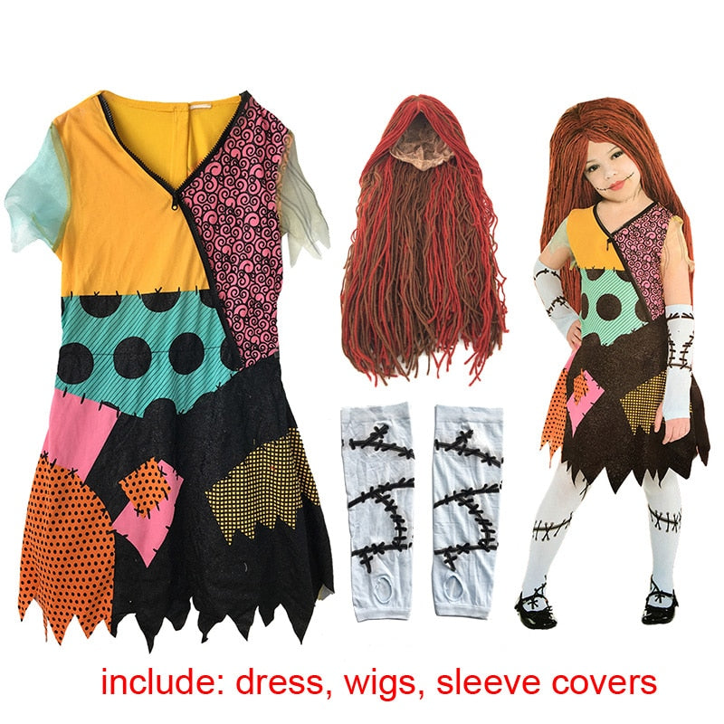 Children Adult Women The Nightmare Before Christmas Children Sally Costume Dress Halloween Party Costume For Kids