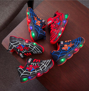 Spiderman Kids Shoes for boys girls Light Children Luminous baby Sneakers mesh sport Boy Girl Led Light Shoes