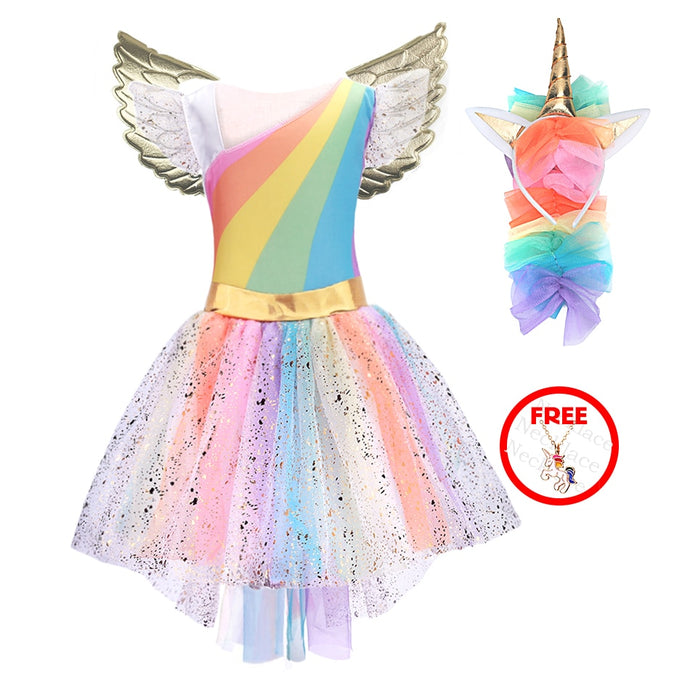 Girls Unicorn Costume Princess Dress New 2019 Girls Prom Cosplay Tutu Dress With Headband Summer Dresses for Kids Girls