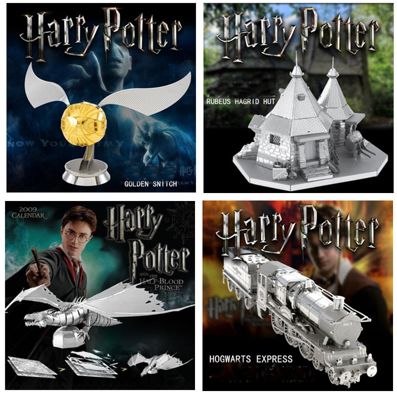 Harry Potter GRINGOTT DRAGON 3D Metal Puzzle Jigsaw GOLDEN SNITCH RUBEUS HARGID HUT HOGWARTS EXPRESS