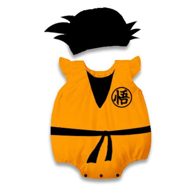 Newborn Baby Boys Romper With Hat Dragon Ball Printed Goku Costume Funny Infant Playsuits Super Saiyan Short Sleeve Summer 6-18M