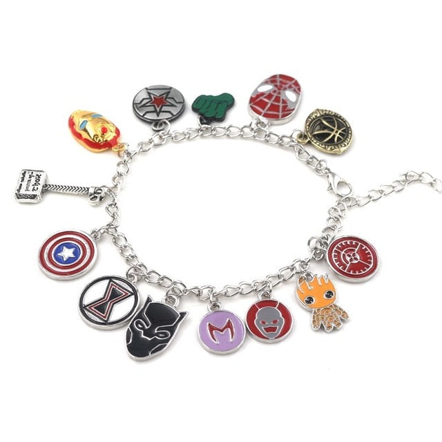 The Avengers Infinity Gauntlet Stone Gem costume Thanos charm Bracelet The Black Widow Bangle Star Lord Baby Groot wristlet