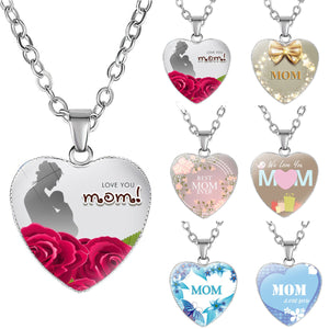 Fashion Love Heart Mom Pendant Necklace Women Chain Necklaces Mothers Day Gifts For Mum Mom Birthday Gifts Mommy Jewelry Collier