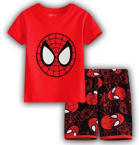 NEW Arrive Summer Baby Kids Boys RED T-shirt and Shorts 2pcs Clothes Set Home Wear Pajamas Sleepwear Suit