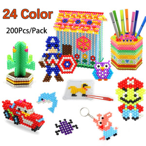 24 Colors 200Pcs 5mm Aqua Perlen Magic Beads Children 3D Puzzle Toys Water Spray Beads Educational Kids Hama Beads Toy Art Craft