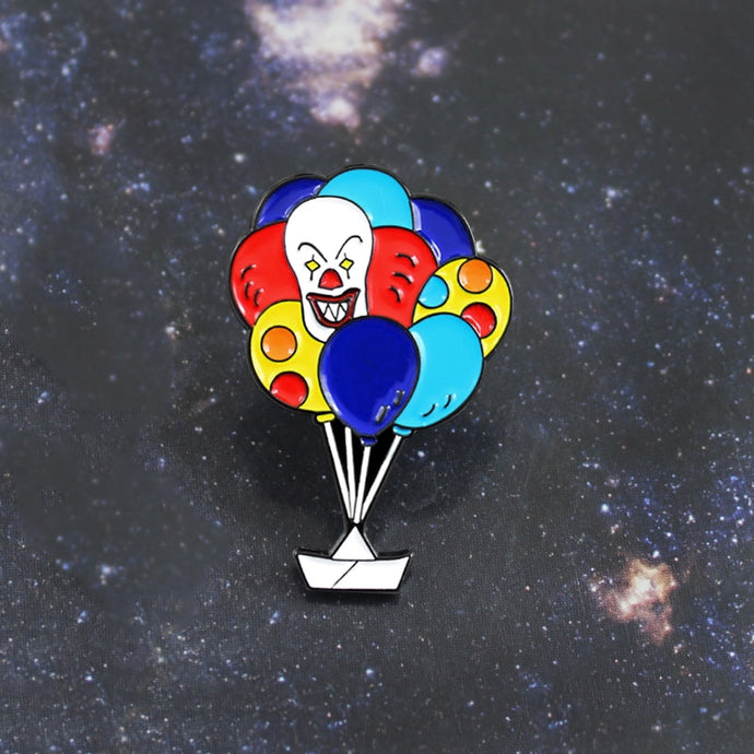 Clown Balloon Brooch Rainbow Color Balloon Nightmare Clown Enamel Pin Backpack Leather Badge Horror Comedy Movie Fan Gifts