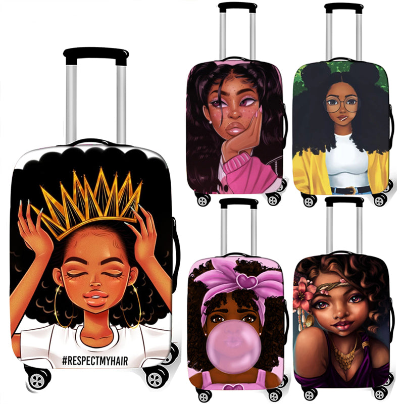 Lady Girl print luggage cover brown women / Africa Beauty Princess suitcase covers