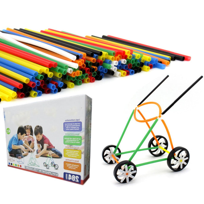 4D DIY Plastic Toys180pcs Plastic Pipe+100pcs Connectors Straw Fight Inserted Construction Building Kits Assembly Toys Blocks
