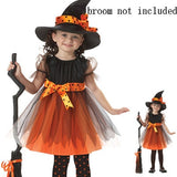 2019 HOT Halloween Witch Costume for Children witch Cosplay Girl fancy dress Hat Fantasia Infantil Carnival Party kid christmas