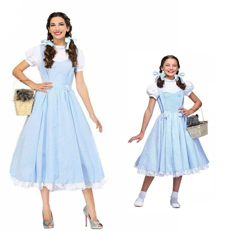 Movie The Wizard of OZ Dorothy Costume for Girl and Women Dorothy Cosplay Fancy Dress Halloween Princess Costumes Party Dresses