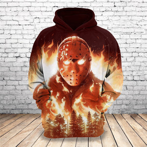 Hot New Customize Design Halloween 3D Horror Jason Printed Hoodies Fashion Pullovers Tops Men Clothing Drop Shipping