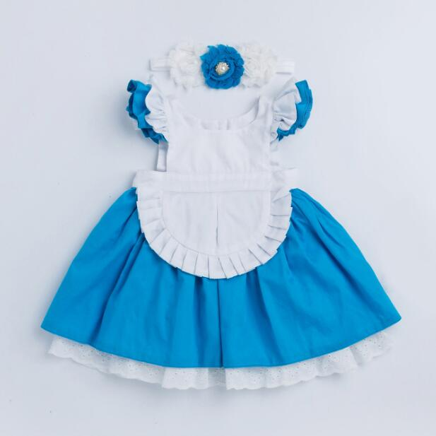 Baby Girl Dress 2019 New Baby Girl Clothes Alice Cinderella Dress White Blue Bow Kids Princess  Halloween Party Dress For 1-6T