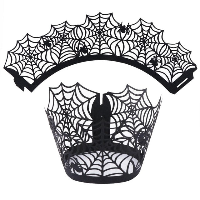 12pcs Halloween Black Party Cupcake Wrappers Spider Witch Castle Laser Cut Cake Decorations Christmas Event Supplies