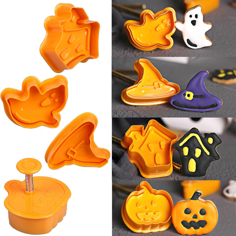 4pcs Halloween Pumpkin Ghost Theme Plastic Cookie Cutter Plunger Fondant Sugarcraft Chocolate Mold Cake Decorating Tools