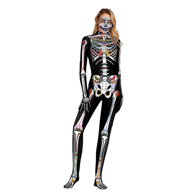 Skeleton Outfit Halloween.Gold Mechanical Bone Skull Costume Women Halloween Outfit Skeleton Costumes Plus Size Jumpsuit Scary Bodysuit