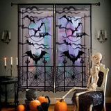 Halloween Lace Curtain Haunted House Decoration Props Bat Spider Web Curtain Halloween Home Door Party Decoration