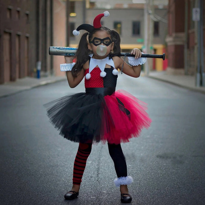 Harley Quinn Girls Tutu Dress with Headband and Mask Joker Fancy Children Halloween Birthday Costume Kids Party Photo Dress