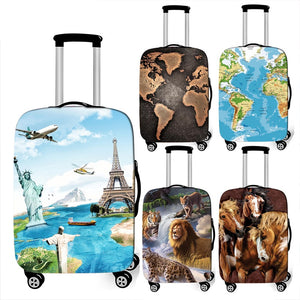world map / animal print thick luggage cover Travel Accessories elastic suitcase cover travel Trolley Case protective Covers