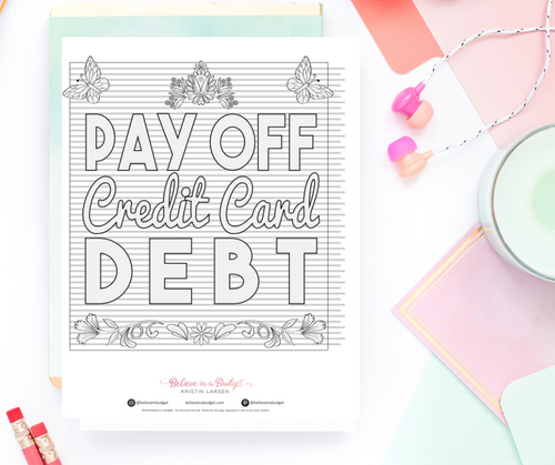 Pay Off Credit Card Debt Coloring Chart