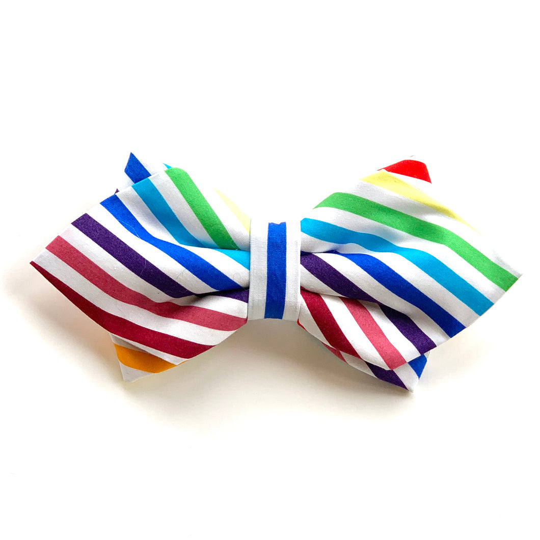 RAINBOW STRIPES - DIAMOND BOW