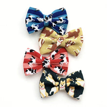 CHIRIMEN SHIBA GREEN - Bowtie Large // READY TO SHIP