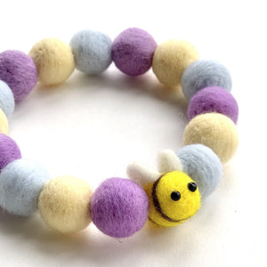 HONEYBEE POMPOM NECKLACE - VIOLET