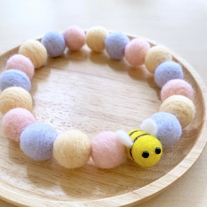 HONEYBEE POMPOM NECKLACE - BLUEBELL