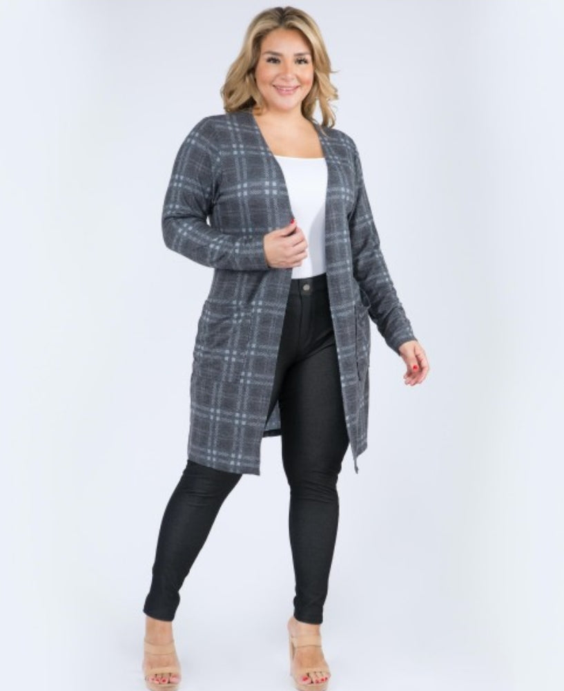 Curvy Grey Plaid Cardigan