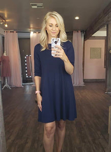 Navy 3/4 Swing Dress