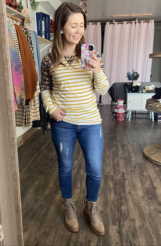Yellow Stripe Raglan