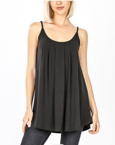 Black Pleated Cami Tank