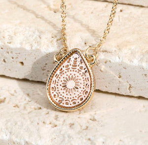 Brass Teardrop Pendant Necklace