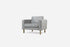 grey fabric armchair with gold legs albany park