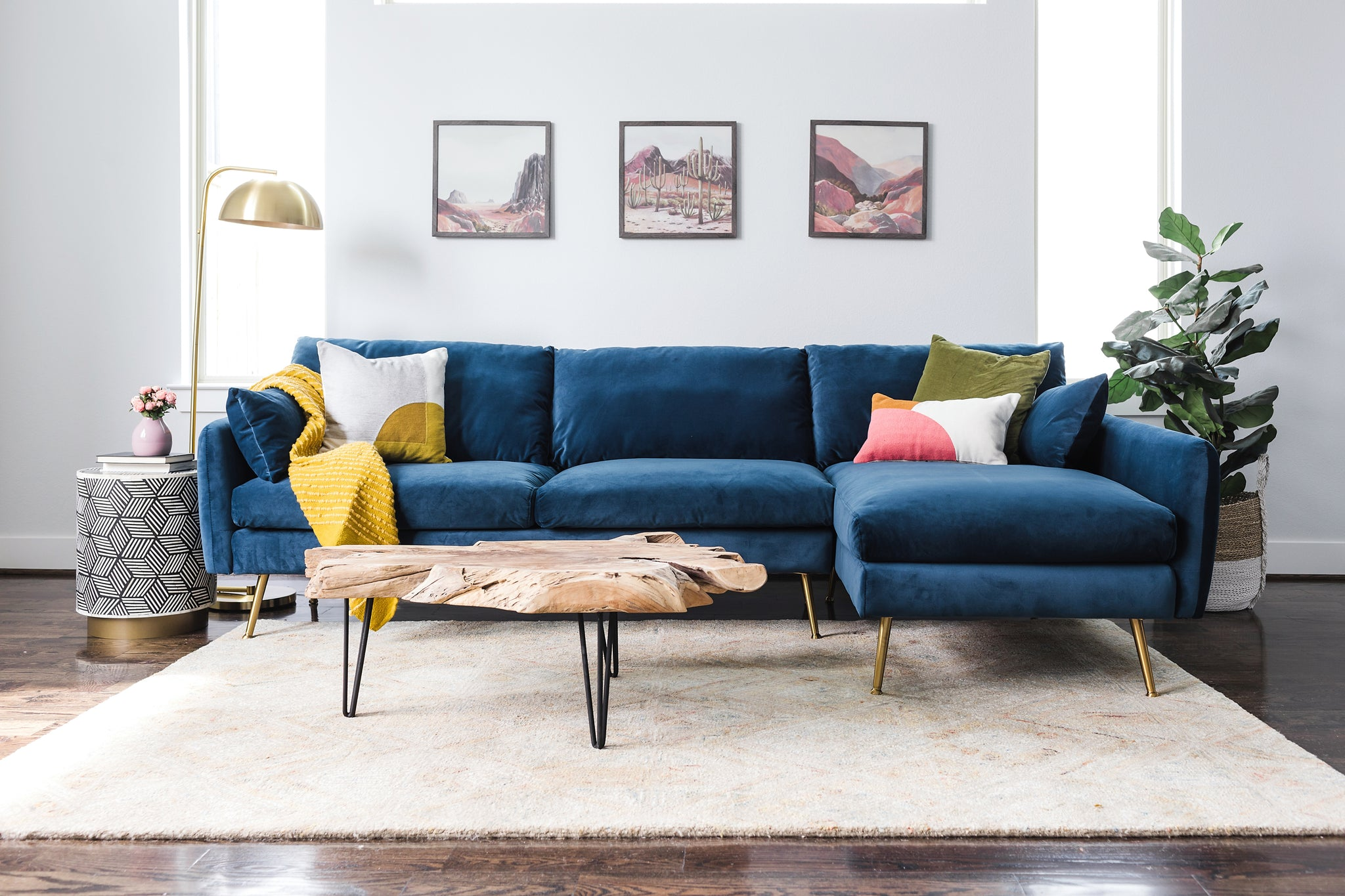 Blue Velvet Gold Legs Right Facing Sectional Sofa