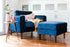 blue velvet armchair and ottoman walnut legs