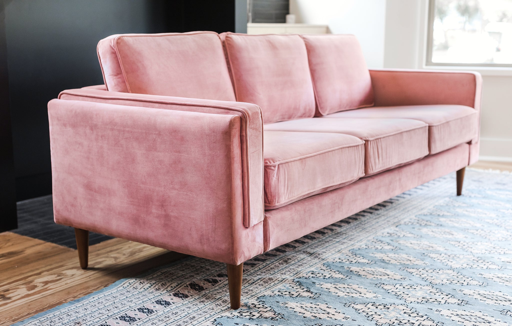 blush pink velvet walnut