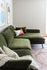 Olive Velvet Black Legs Right Facing Sectional Sofa