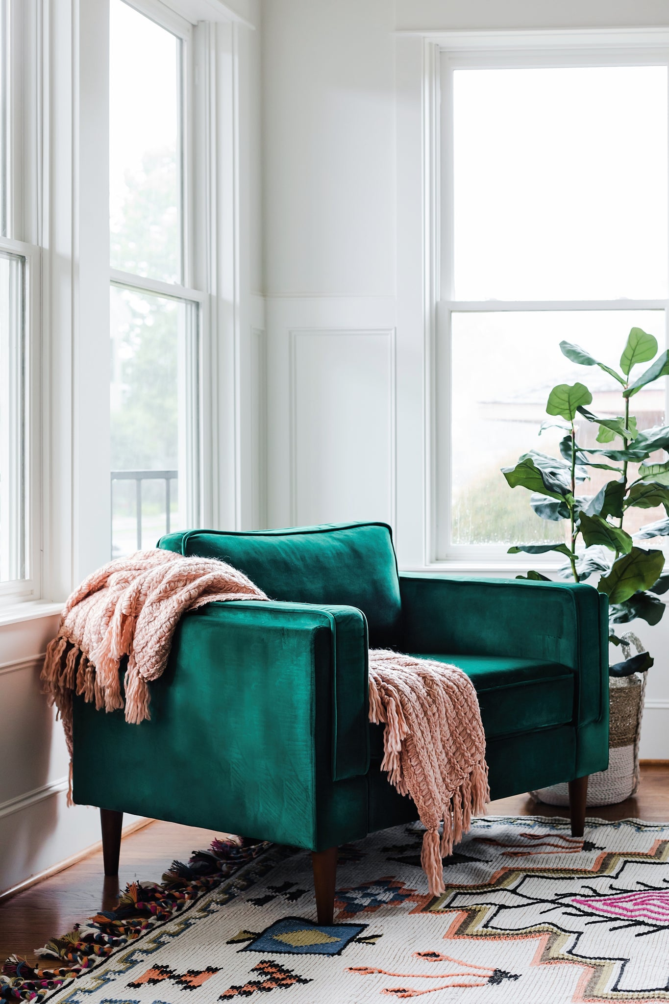 albany park green velvet armchair living room walnut modern