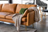 Distressed Vegan Leather Gold Legs Left Facing Sectional Sofa