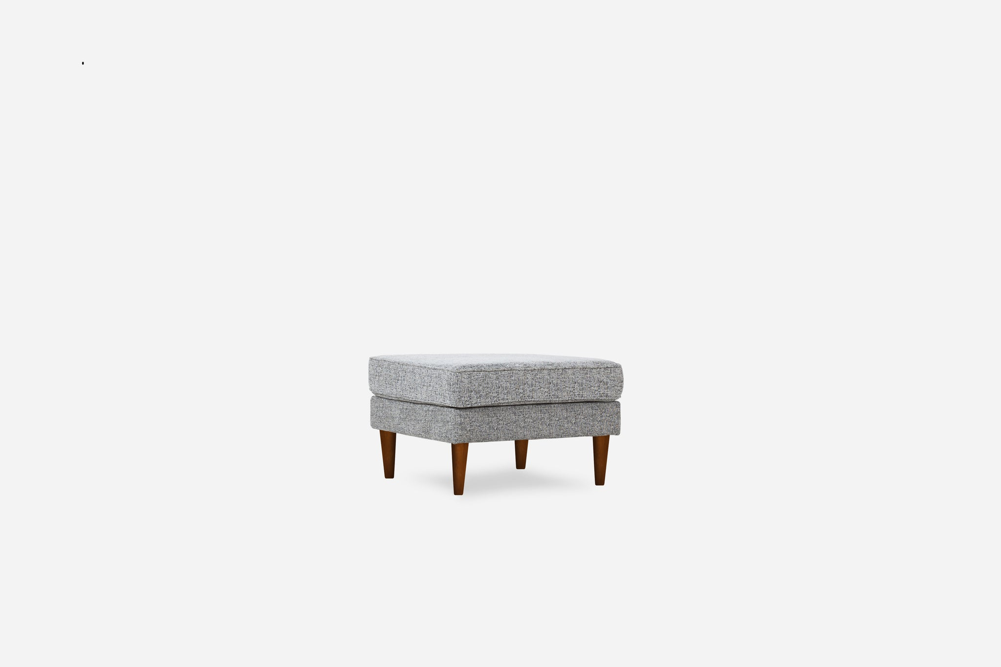 grey fabric ottoman walnut legs