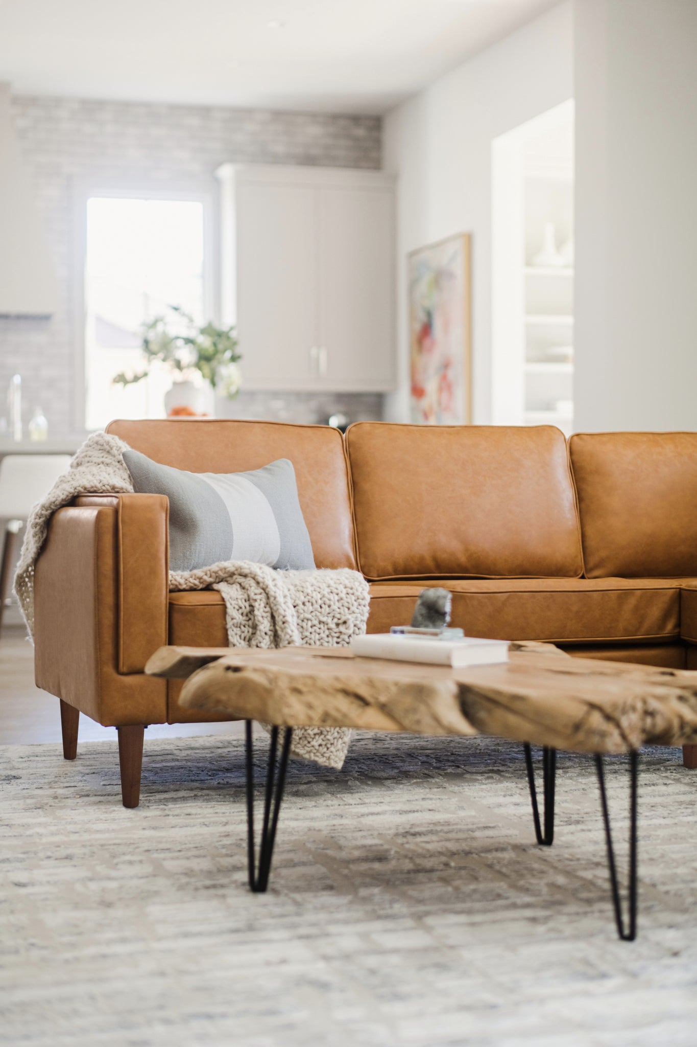 Distressed Vegan Leather Walnut Corner Sectional