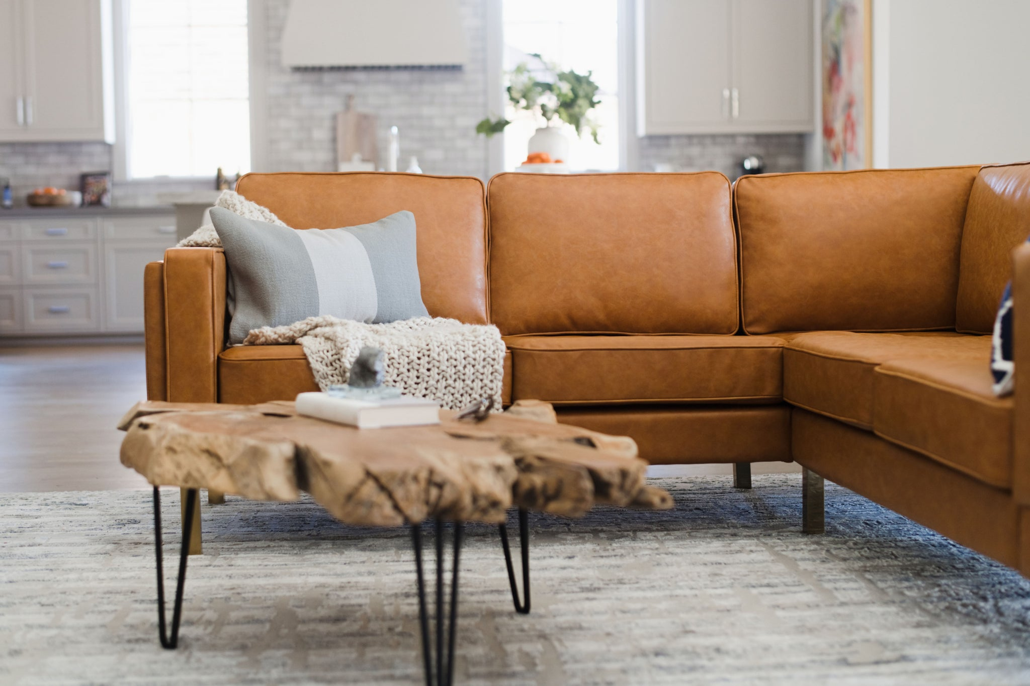 Distressed Vegan Leather Gold Corner Sectional